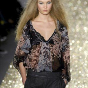 Rebecca Taylor Silk Floral Ruffle Blouse, Size 2